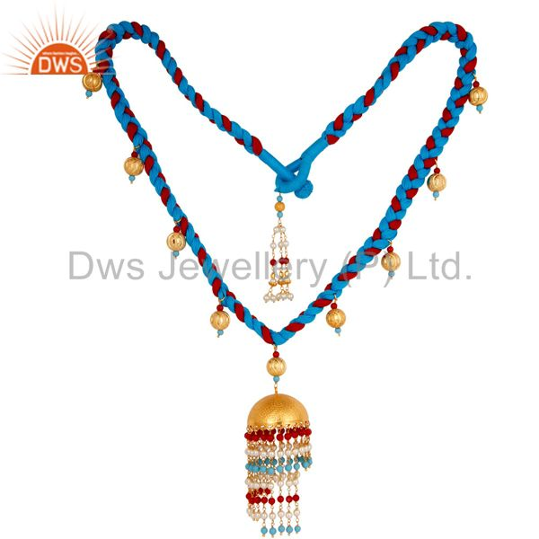 18K Gold Plated White Pearl Coral and Turquoise Indian Traditional Necklace
