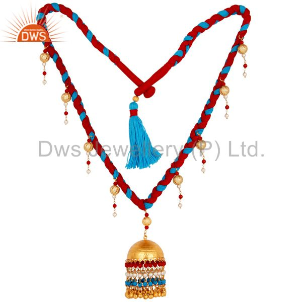 White Pearl Coral and Turquoise Indian Handcrafted 18K Gold Plated Necklace