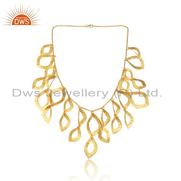Gold Plated Sterling Silver Choker Style Statement Necklace