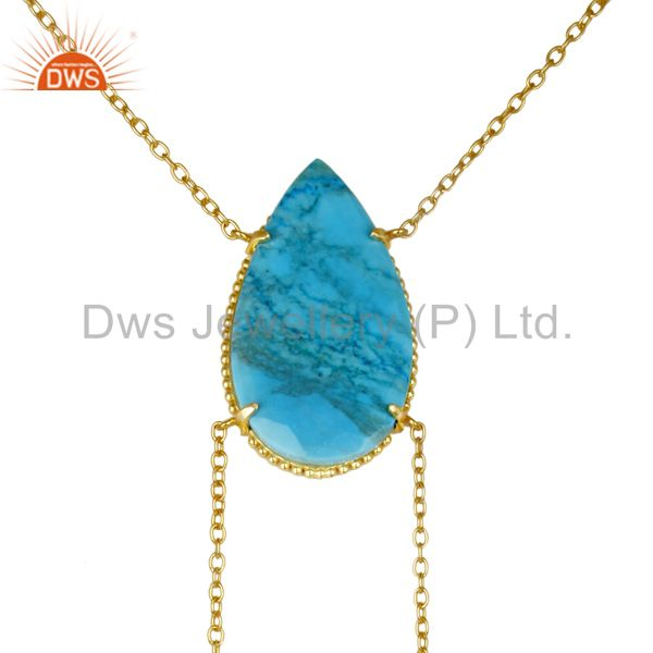 14K Gold Plated Handmade Pear Cut Natural Turquoise Chain Link Necklace
