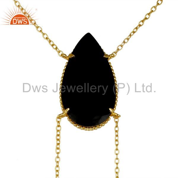 14K Gold Plated Handmade Pear Cut Natural Black Onyx Chain Link Necklace