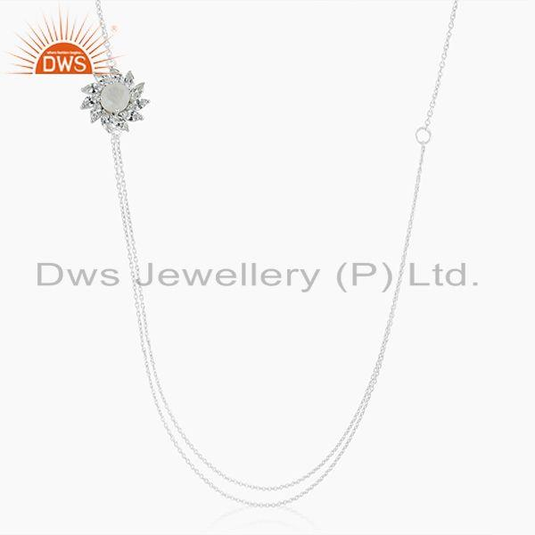 Floral Design Rainbow Moonstone and Cz Fine Silver Plated Brass Chain Necklace