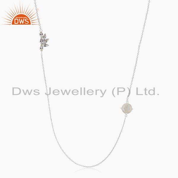 Fine silver plated brass rainbow moonstone chain necklace manufacturers