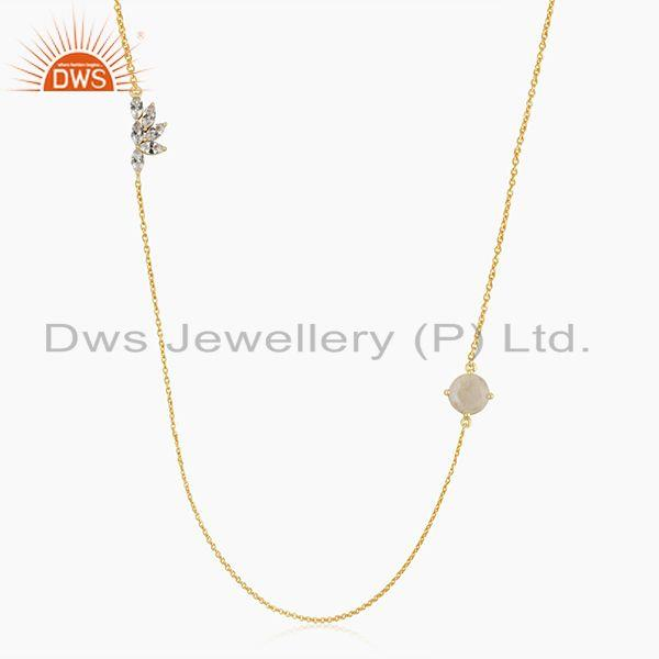 Cz and rainbow moonstone gold plated brass fashion chain necklace manufacturer