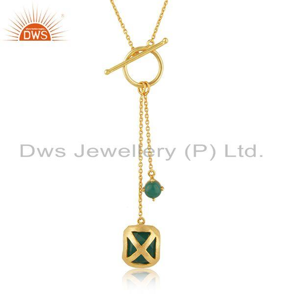 Green Onyx Gemstone Yellow Gold Plated Brass Fashion Chain Pendant Suppliers