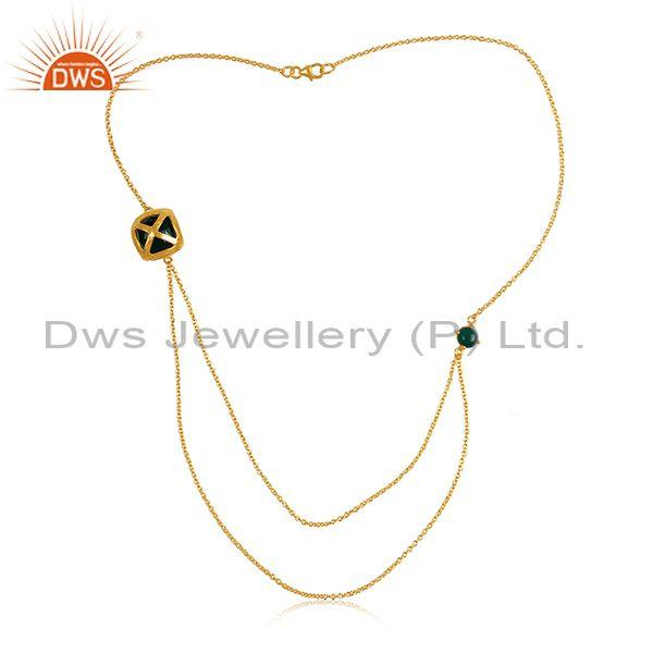 Green onyx set gold on sterling silver double chain necklace