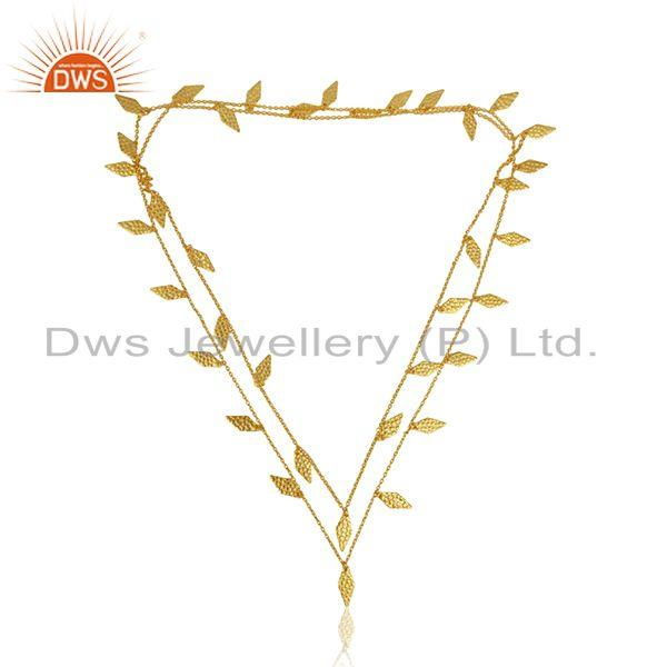 Leaf Design Gold Plated Brass Fashion Chain Necklace Jewelry