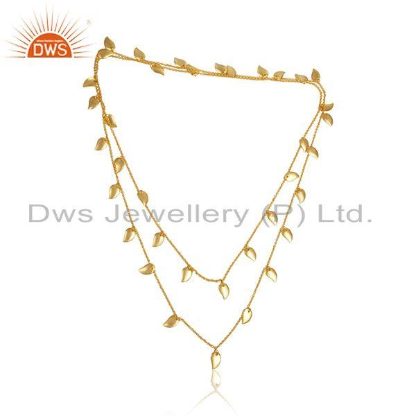 Leaf Designer Gold Plated Womens Brass Fashion Necklace Jewelry