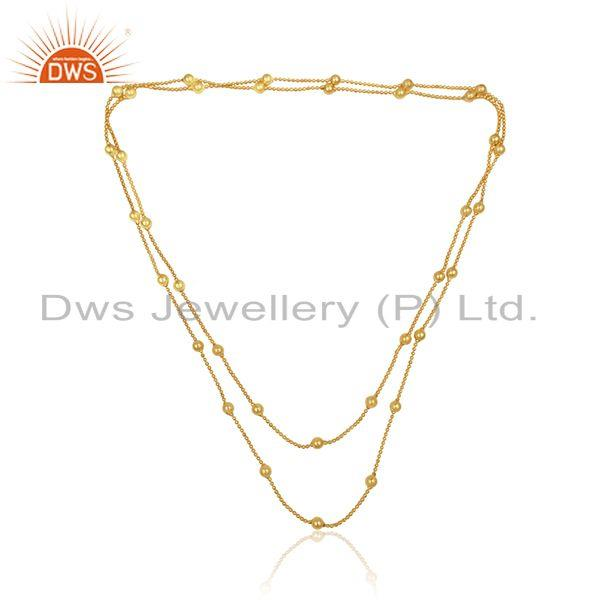 18k yellow gold plated designer womens brass fashion necklace