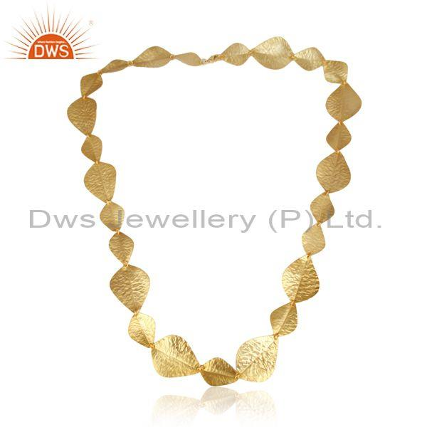 HandmadeTextured Bold Multi Leaf Yellow Gold on Fashion Necklace