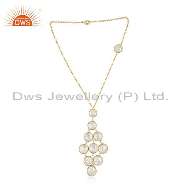 Brass Gold Plated White Chandelier Pendant And Necklace