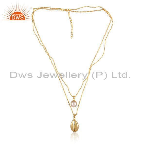 Pearl set gold on 925 silver classic double chain necklace