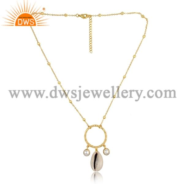Cowrie And Pearl Round Pendant And Brass Gold Necklace
