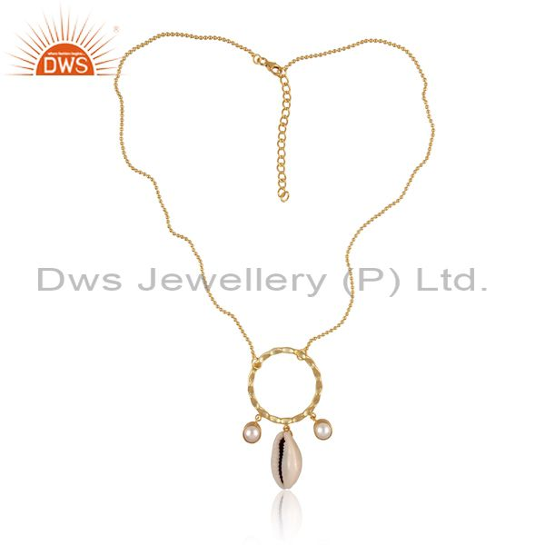 Pearl And Cowrie Set Round Pendant And Gold On Silver Chain