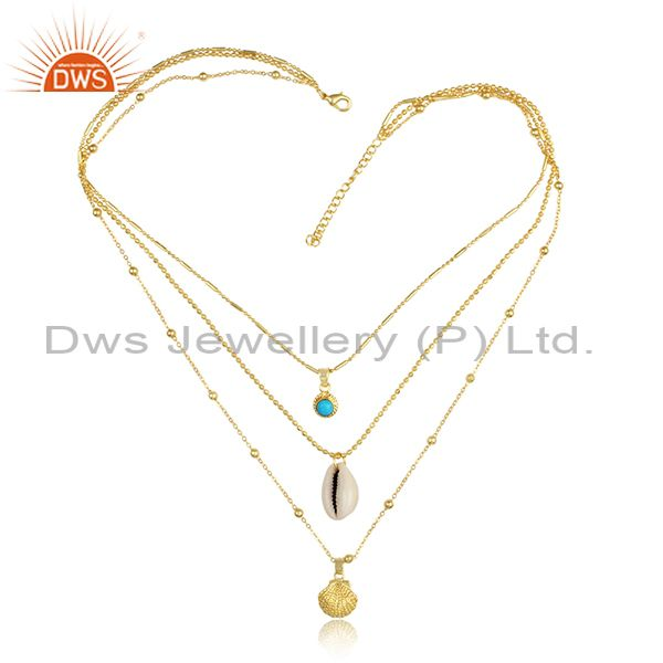 Cowrie, Turquoise, Brass Gold Pendant Triple Chain Necklace