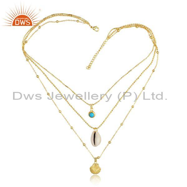 Turquoise, Cowrie Set Gold On Silver Triple Chain Necklace