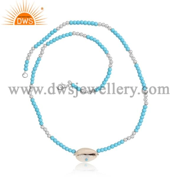 Cowrie Pendant With Turquoise Cultured Beaded Necklace