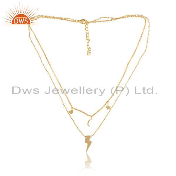Charms Set Gold On Brass Designer Classic Pendant And Chain