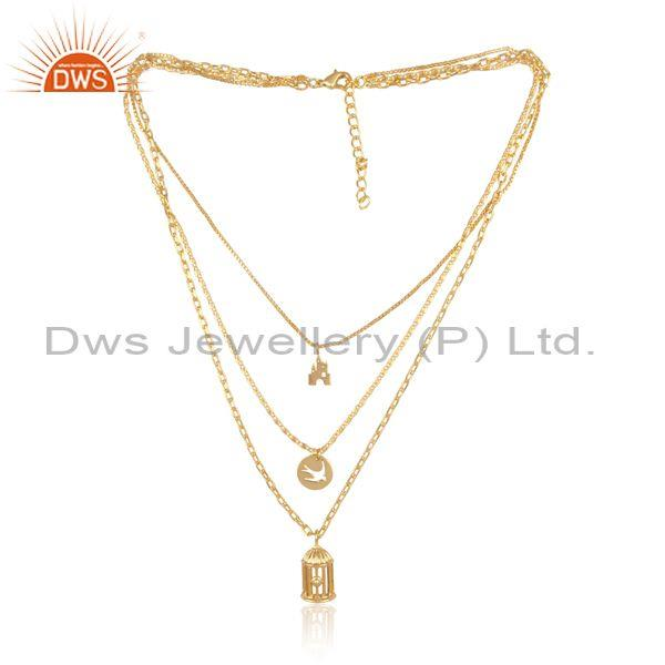 Multiple charms set brass gold triple chain fancy necklace