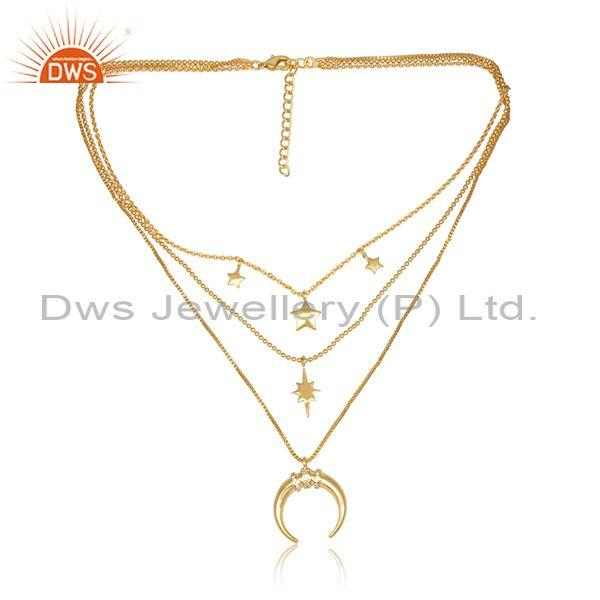 Cz set moon and star charms triple chain brass gold necklace
