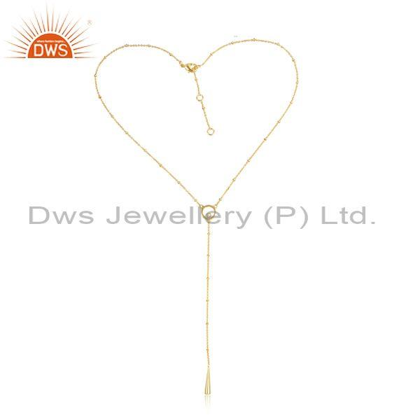 CZ Set Brass Gold Statement Pendant And Lariat Necklace