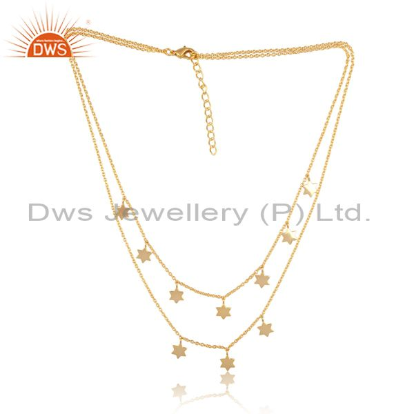 Star Charms Set Brass Gold Multi Chain Designer Necklace