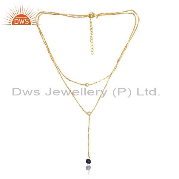 Lapis set brass gold multi chain designer lariat necklace