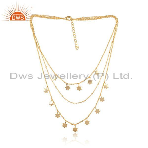 Star charms set brass on gold designer triple chain necklace