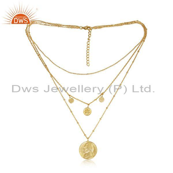 Round charms set brass gold triple chain designer necklace