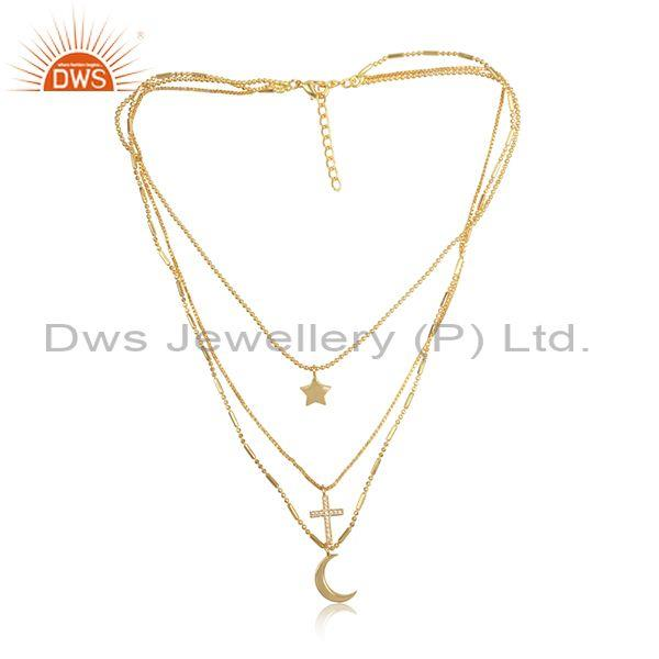 Cz star moon cross charm set brass gold multi chain necklace