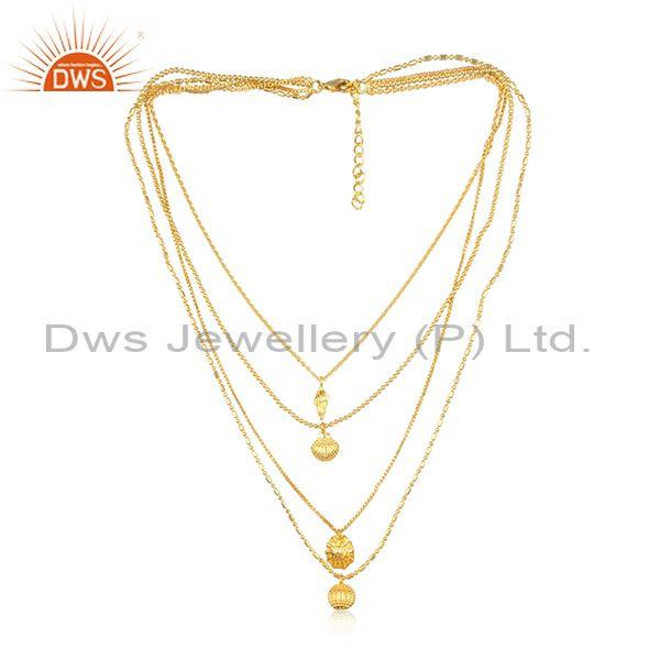 Handmade charms set brass gold multi chain fancy necklace