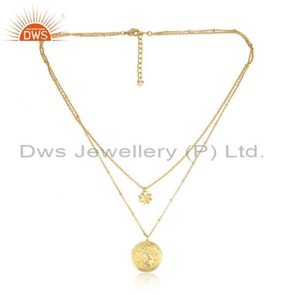 Flat coin charms set brass gold handmade two chain necklace