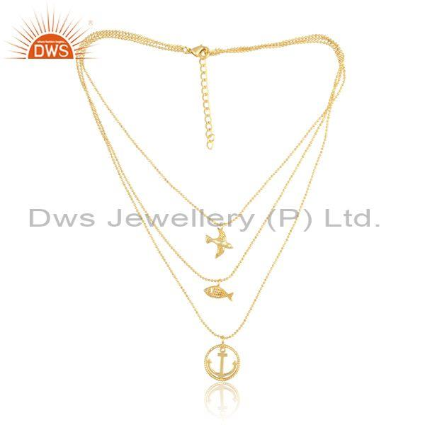 Cz set anchor bird and fish charm set brass gold necklace
