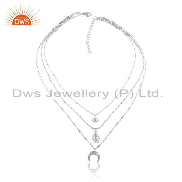 Cz and charms set fine brass triple chain designer necklace