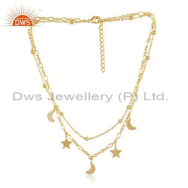 Stars and moons charms set brass gold double chain necklace