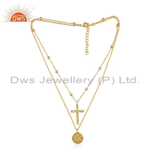 Cross and round charms set brass gold double chain necklace