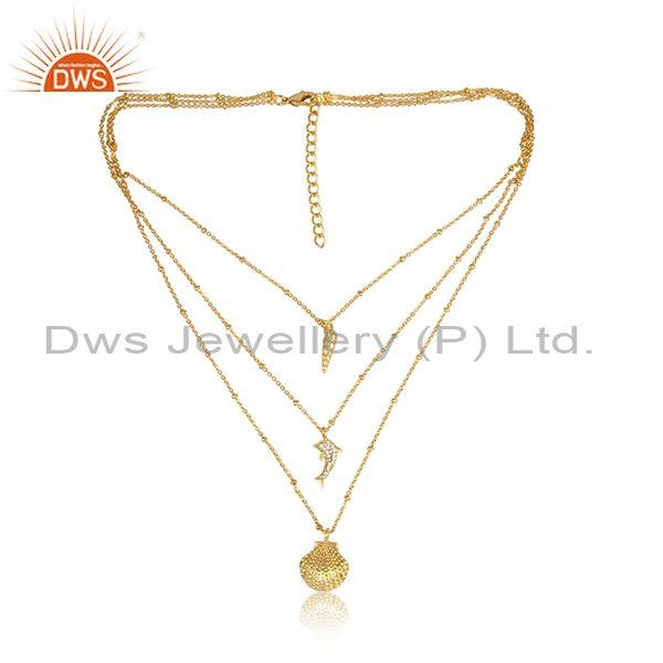 CZ And Charms Set Brass Gold Handmade Triple Chain Necklace