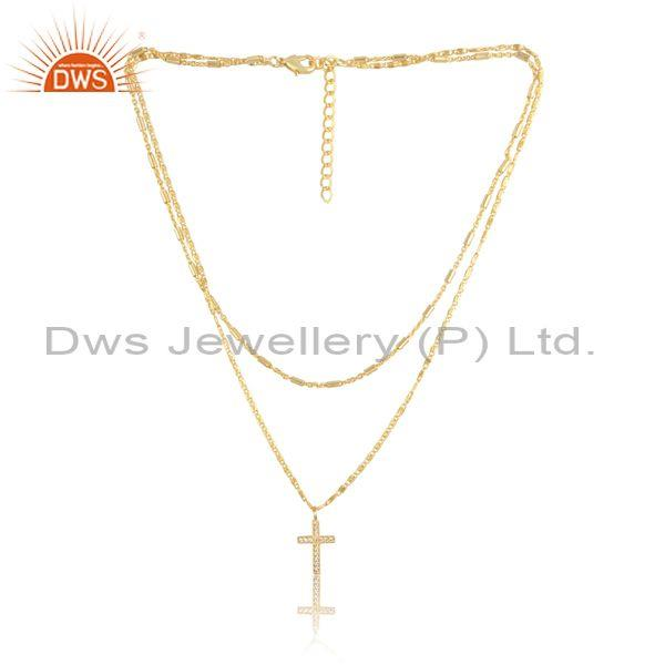 Cz and cross charm set brass gold classic designer necklace