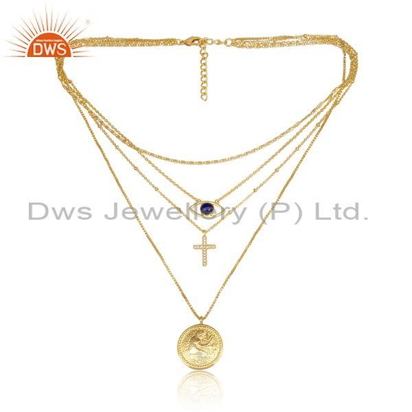 Cz and lapis set brass gold religious charms set necklace