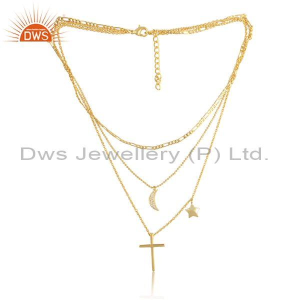 Cz star moons and cross charms set fancy brass gold necklace