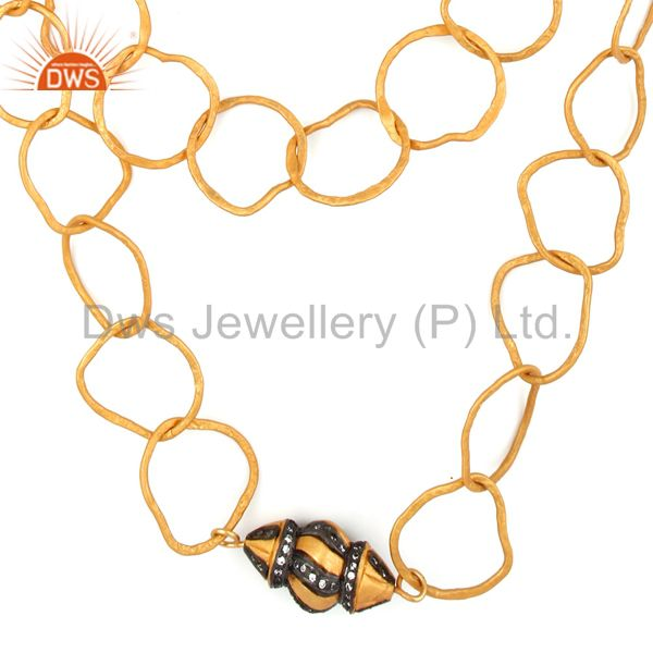 22k yellow gold plated brass cz hammered multi layered chain fashion necklace