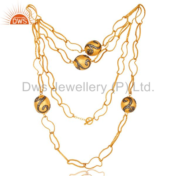 22K Gold Plated Brass Twisted Wire Link Chain Necklace With CZ Spheres