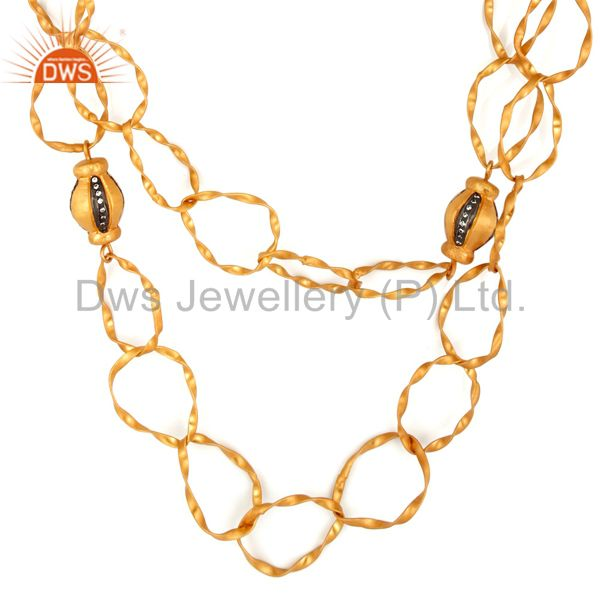 Indian Artisan 24K Gold Plated White Zircon Hammered Designer Fashion Necklace