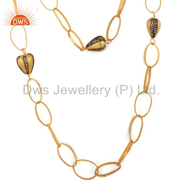 22K Yellow Gold Plated Brass Cubic Zirconia Multi Layered Chain Fashion Necklace
