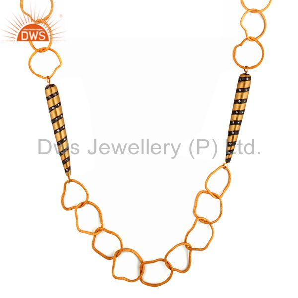Handmade Hammered 22K Gold Plated Link Chain Necklace With CZ Bullet Charm