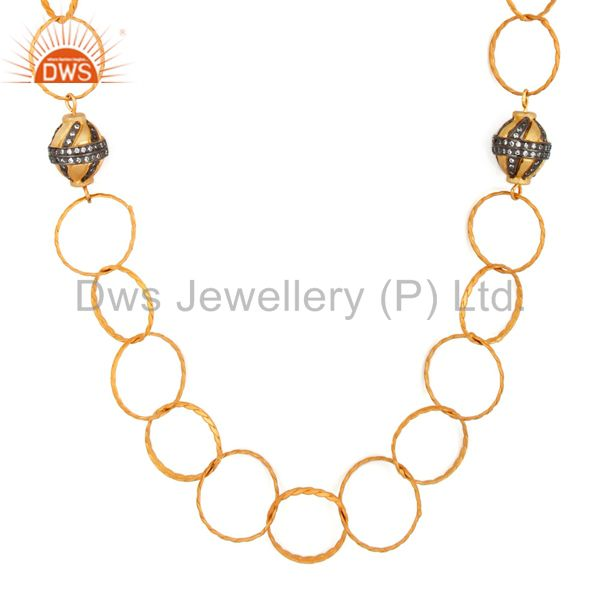 24K Yellow Gold Plated Brass Hammered Link Chain Necklace With CZ Spheres Ball