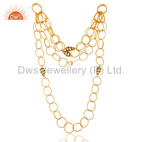 Designer 24K Yellow Gold Plated Brass link Chain Fashion Necklace With CZ