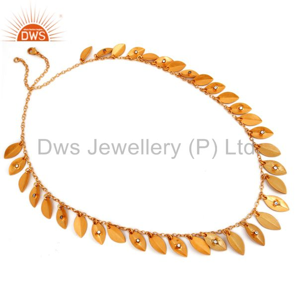 18k gold plated with textured finish simulated diamond belly dance necklace