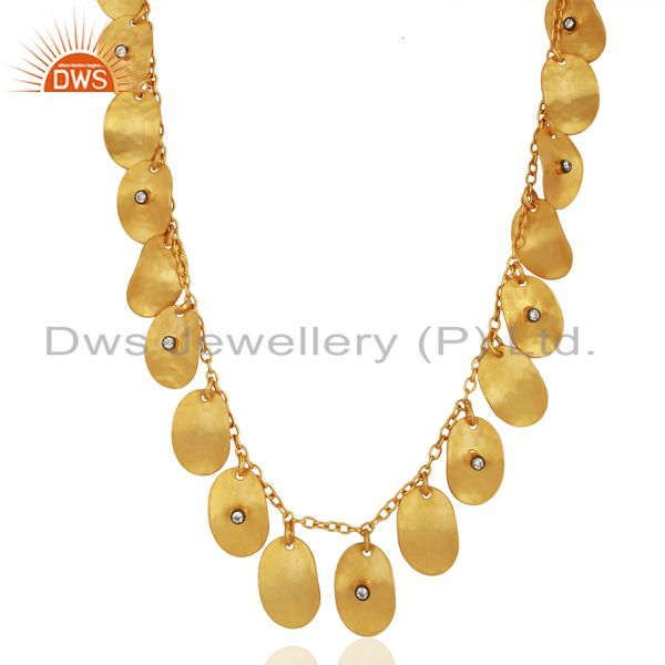 Hand Crafted Cubic Zirconia 22K Yellow Gold Plated Designer Necklace