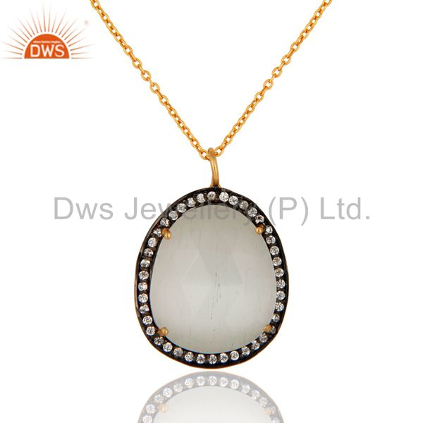Cubic Zirconia And Moonstone Prong Set Pendant Necklace With 24K Gold Plated